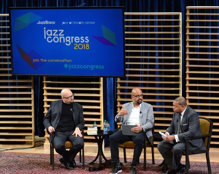 Ethan Iverson, Wynton Marsalis and Andre Guess discuss jazz and race at Jazz Congress 2018.