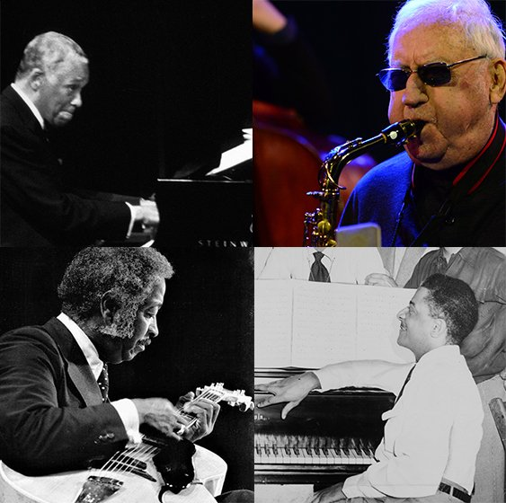 Freddie Green, Lee Konitz, John Lewis, and Teddy Wilson, the 2020 Ertegun Jazz Hall of Fame Inductees.